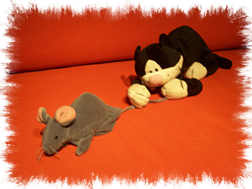 Photo: Cat and Mouse stuffed animals